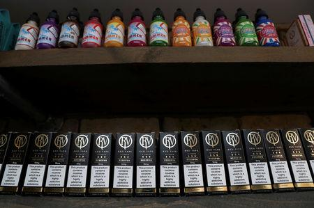 E-liquids on sale are seen at a House of Vapes store, in London, Britain August 17, 2018. REUTERS/Peter Nicholls