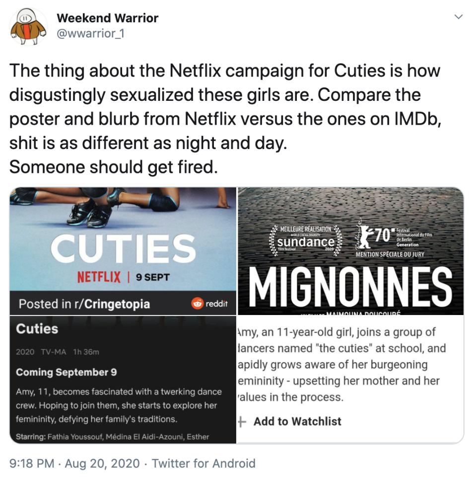 Tweet comparing Cuties poster and description on Netflix and IMDb