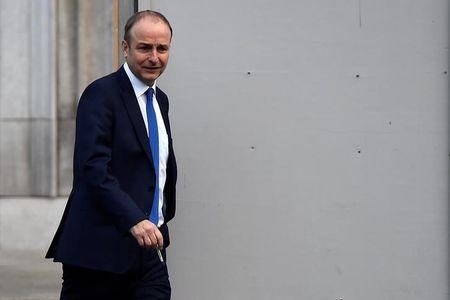 The Leader of Ireland's opposition Fianna Fail party, Micheal Martin is seen in the grounds of Government Buildings in Dublin