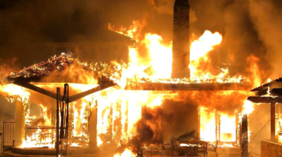 The fire at the property was subsequently put out by Palo Alto's fire department (Facebook/Palo Alto Fire Department )