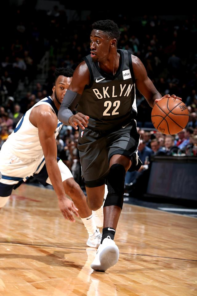 MINNEAPOLIS, MN - NOVEMBER 12: Caris LeVert #22 of the Brooklyn Nets handles the ball against the Minnesota Timberwolves on Novemeber 12, 2018 at Target Center in Minneapolis, Minnesota. (Photo by David Sherman/NBAE via Getty Images)