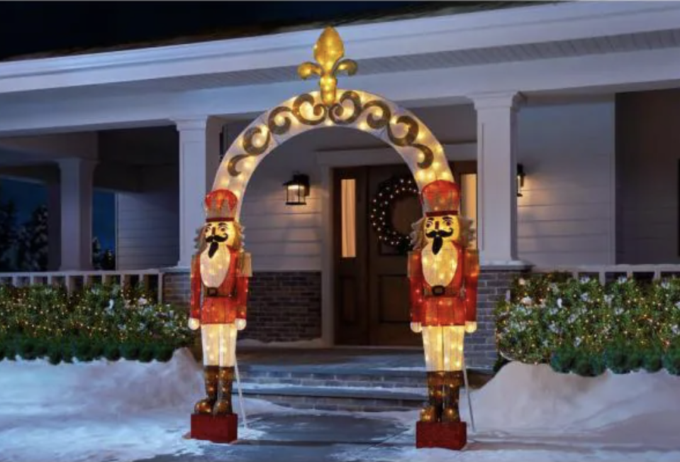 home accents holiday led light nutcracker arch yard sculpture