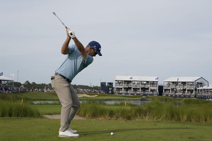 Kevin Streelman hits off the 17th tee during the third round at the PGA Championship golf tournament on the Ocean Course, Saturday, May 22, 2021, in Kiawah Island, S.C. (AP Photo/Chris Carlson)