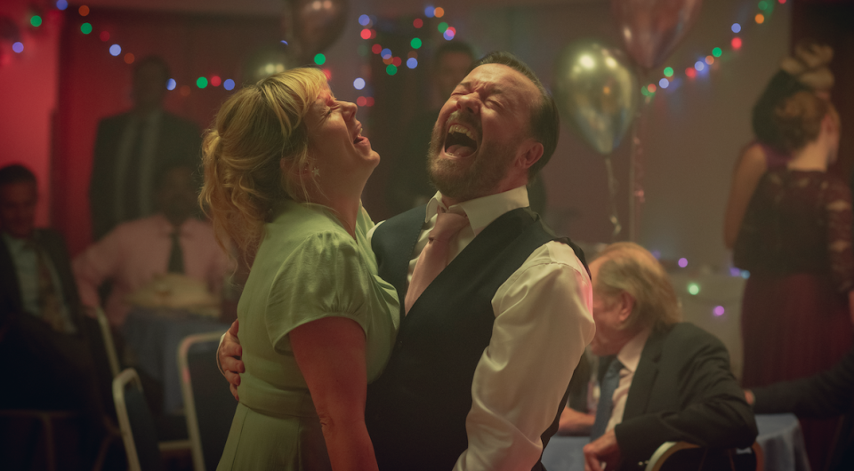 Kerry Godliman and Ricky Gervais in After Life. (Netflix)