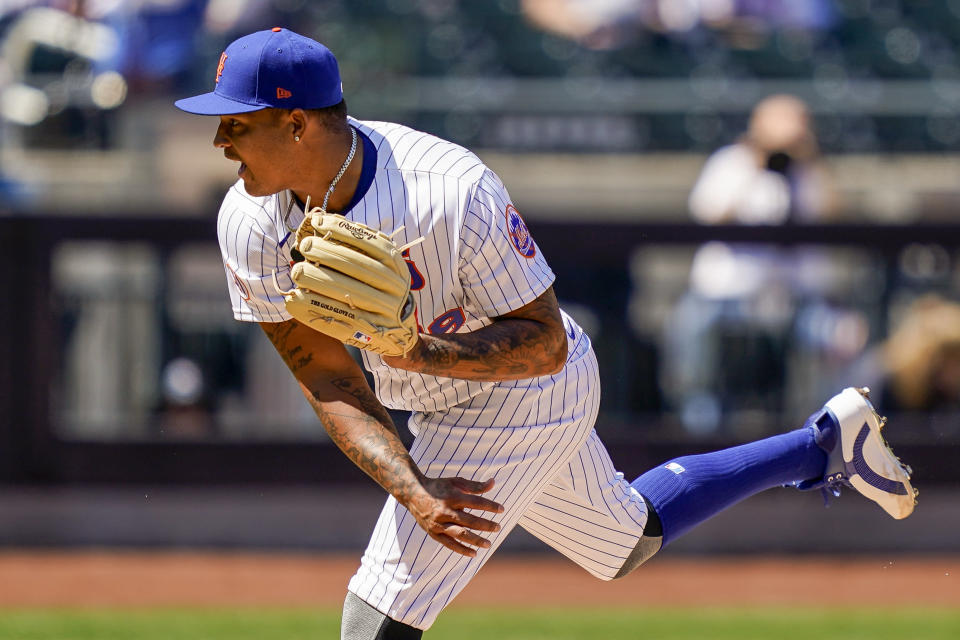 New York Mets starting pitcher Taijuan Walker throws during the first inning of a baseball game against the Miami Marlins, Thursday, April 8, 2021, in New York. (AP Photo/John Minchillo)