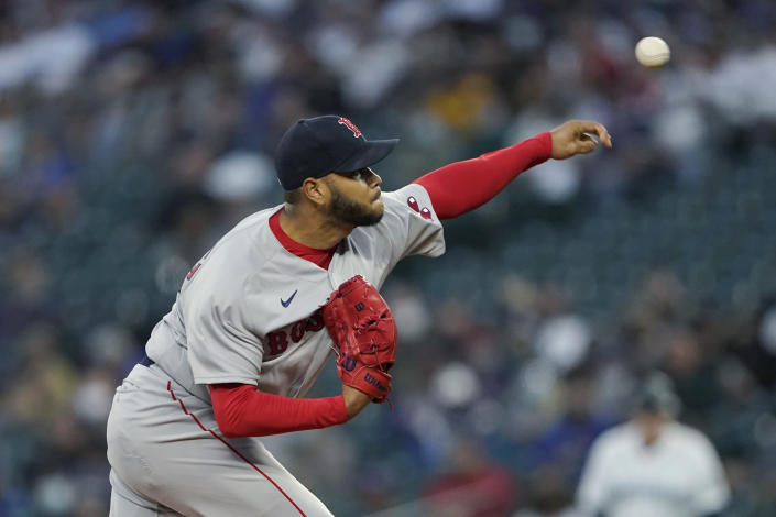 Boston Red Sox starting pitcher Eduardo Rodriguez throws against the Seattle Mariners during the first inning of a baseball game, Monday, Sept. 13, 2021, in Seattle. (AP Photo/Ted S. Warren)