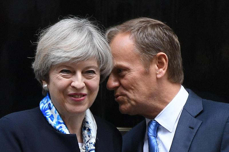 Theresa May meets European Council president Donald Tusk in April: PA Wire/PA Images