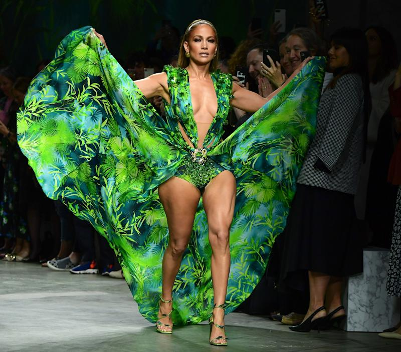 US singer Jennifer Lopez presents a creation for Versace's Women's Spring Summer 2020 collection in Milan on September 20, 2019.