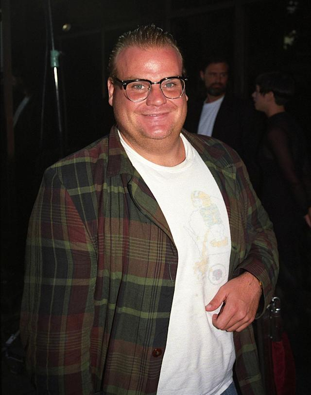 Chris Farley at the <em>Hearts and Souls</em> premiere in Los Angeles in August 1993. (Photo: Berliner Studio/BEI/Rex/Shutterstock)
