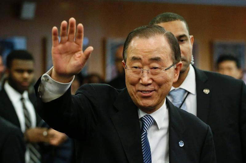 UN Secretary-General Ban Ki-moon waves as he departs from UN Headquarters on December 30, 2016, in New York