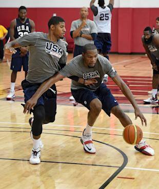 Paul George Defends Kevin Durant During A Team USA Practice Session On July 30 2014