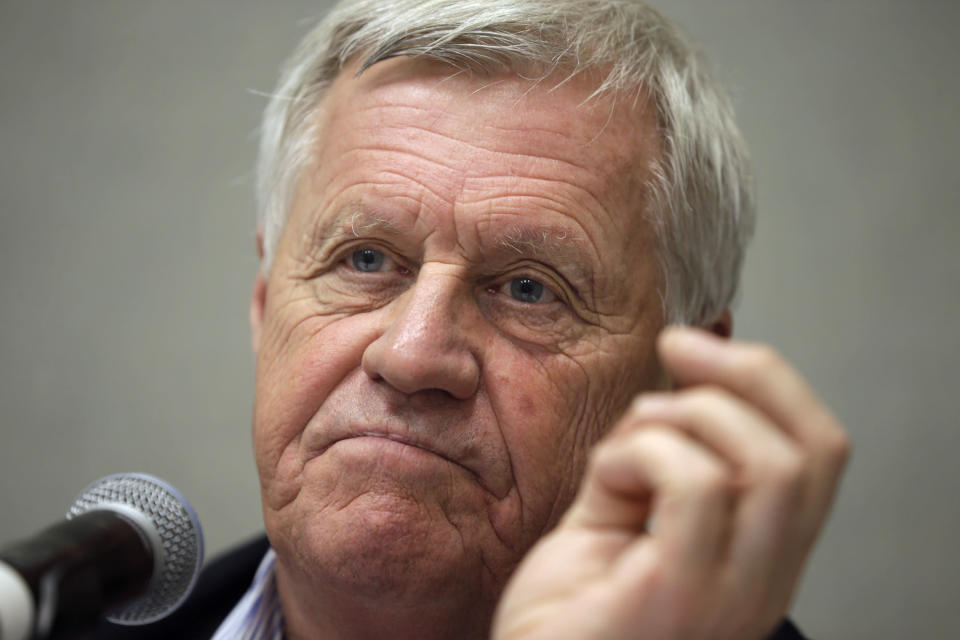 FILE - In this Sept. 2, 2014, file photo, Rep. Collin Peterson, D-Minn., listens to a question during an appearance in Hot Springs, Ark. (AP Photo/Danny Johnston, File)