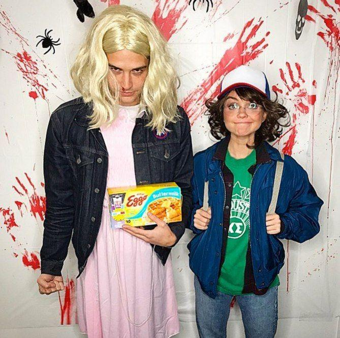 <p>Sarah and her boo channeled <em>Stranger Things</em>' iconic characters Eleven and Dustin and of course they brought some Eggos to keep things authentic!</p>