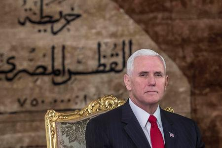 Egyptian President Abdel Fattah al-Sisi (not pictured) meets with with U.S. Vice President Mike Pence  at the Presidential Palace in Cairo, Egypt January 20, 2018. REUTERS/ Khaled Desouki/Pool