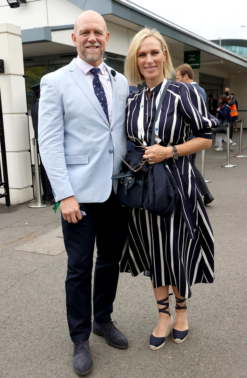 LONDON, ENGLAND - JULY 07: Mike Tindall and Zara Tindall attend Wimbledon Championships Tennis Tournament at All England Lawn Tennis and Croquet Club on July 07, 2021 in London, England. (Photo by Karwai Tang/WireImage)