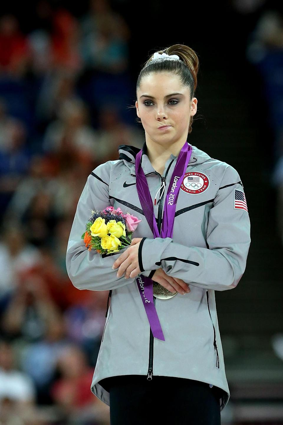 <p>McKayla Maroney Maroney of the United States stands on the podium with her silver medal during the medal ceremony following the Artistic Gymnastics Women's Vault final on Day 9 of the London 2012 Olympic Games at North Greenwich Arena on August 5, 2012 in London, England. (Photo by Ronald Martinez/Getty Images) </p>