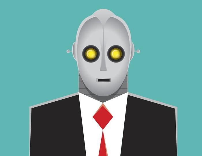 A cartoon robot in a business suit and tie
