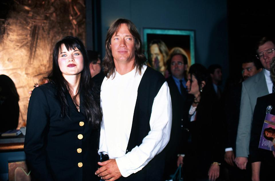 LAS VEGAS -  JANUARY 1996:  Actors Lucy Lawless and Kevin Sorbo attend an MCA Television promtional event for their TV shows 'Xena: Warrior Princess' and 'Hercules: The Legendary Journeys' in January 1996 in Las Vegas, Nevada. (Photo by Donaldson Collection/Michael Ochs Archives/Getty Images)