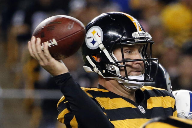 Pittsburgh Steelers quarterback Ben Roethlisberger passes in the third quarter of the NFL football game against the Indianapolis Colts, Sunday, Oct. 26, 2014 in Pittsburgh. (AP Photo/Gene J. Puskar)