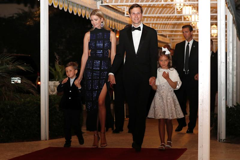 Trump and Kusher arrive with their children for a New Year's Eve party at U.S. President Donald Trump's Mar-a-Lago club in Palm Beach, Florida, December 31, 2017. (Jonathan Ernst / Reuters)