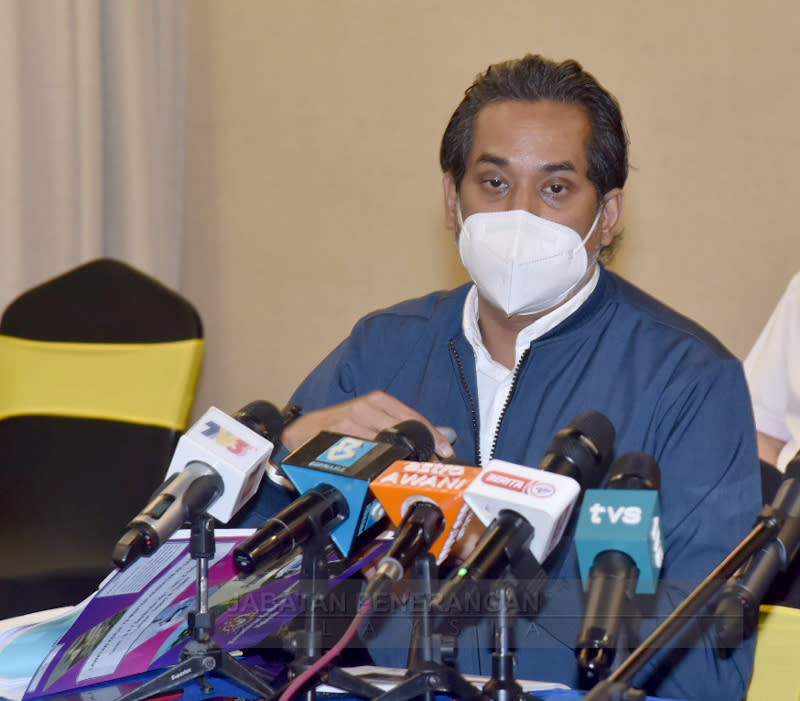 Health Minister Khairy Jamaluddin speaks at a press conference in Kota Kinabalu, Sabah on September 6, 2021. — Picture courtesy of the Information Department