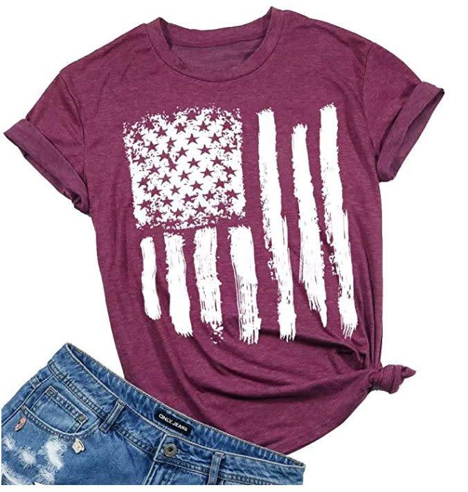 "Find this women's tee for $17 on <a href=""https://amzn.to/3eL5Qk6"" rel=""nofollow noopener"" target=""_blank"" data-ylk=""slk:Amazon"" class=""link rapid-noclick-resp"">Amazon</a>."