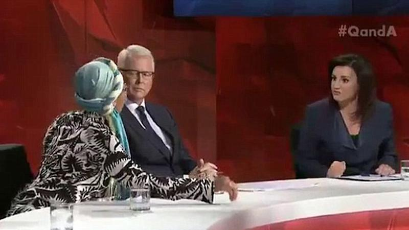 The pair clashed on ABC program Four Corners over talks of a travel ban and Sharia law. Source: ABC