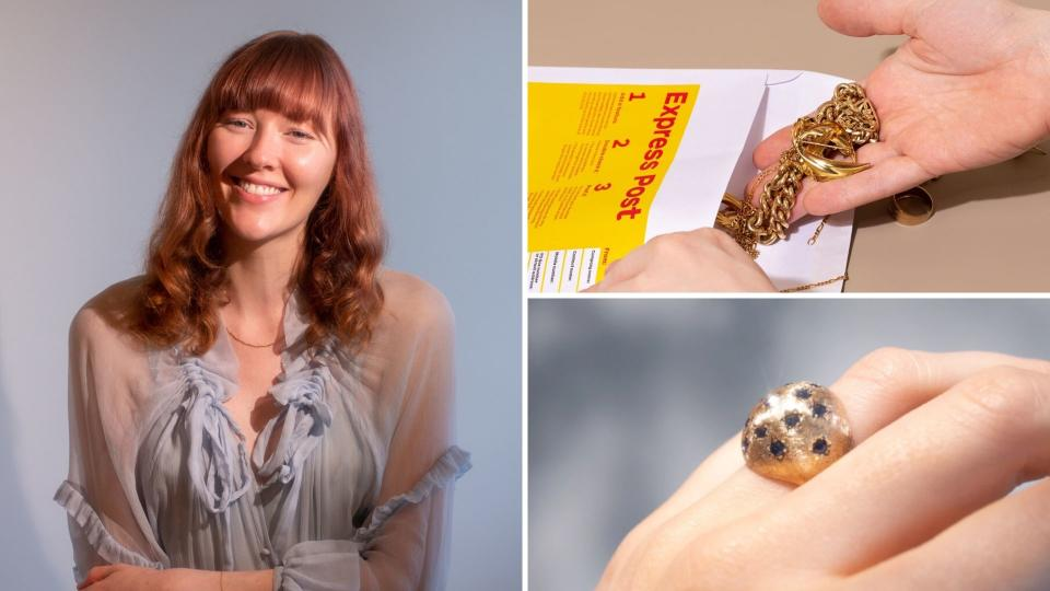 Pictured: Molten Store managing director Jessy Cameron, someone putting unwanted gold necklaces in delivery bag, beautiful gold and sapphire ring. Sustainable  jewellery concept. Images: Molten Store
