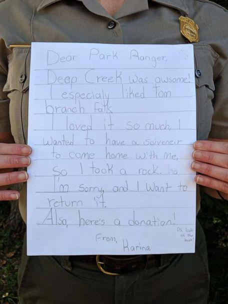 PHOTO: Park Rangers from Great Smoky Mountains National Park shared a photo of a letter from a former visitor. (National Park Service)