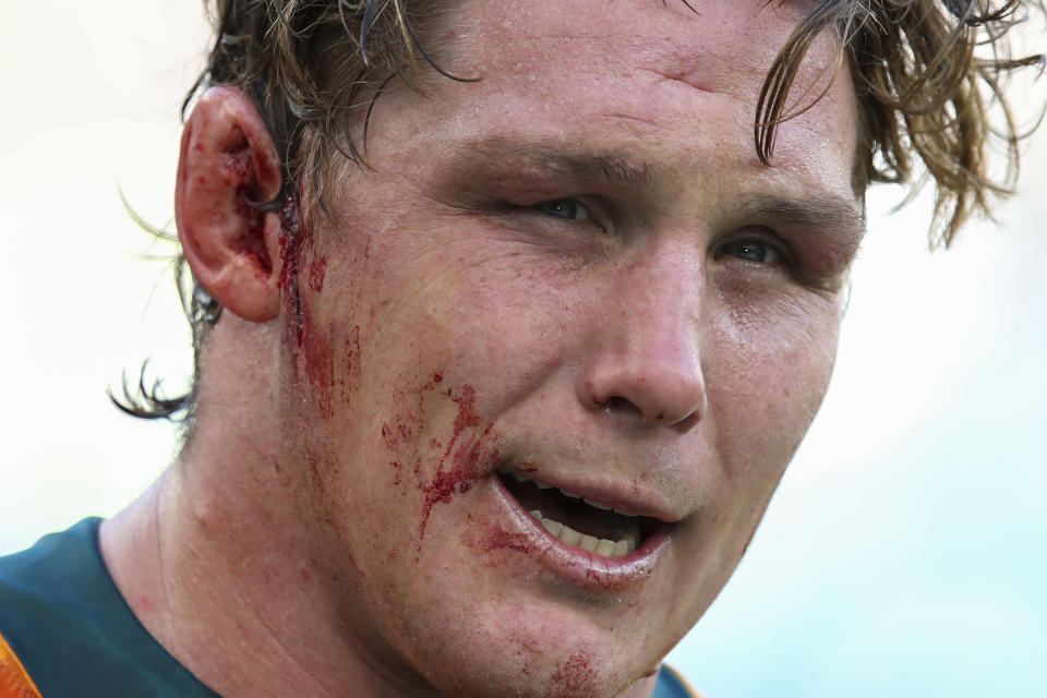Australia's captain Michael Hooper is interviewed following the Rugby Championship game between the All Blacks and the Wallabies in Perth, Australia, Sunday, Sept. 5, 2021. (AP Photo/Gary Day)