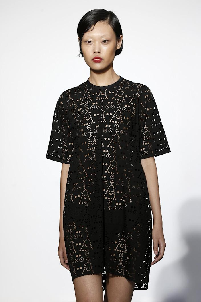 A cutwork pattern with subtle smiley faces reflects Dévastée's signature combination of humor and couture details.