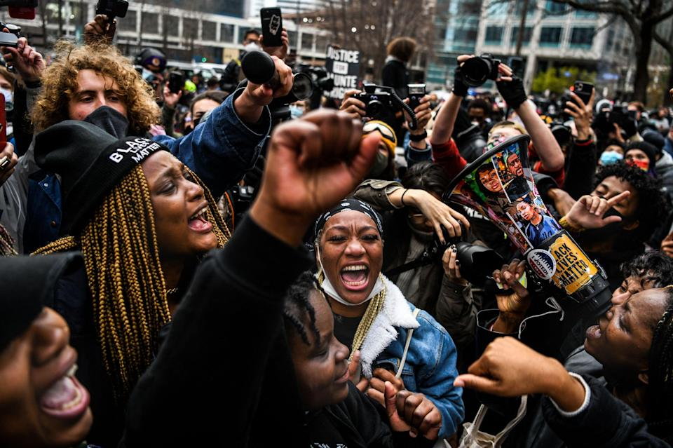 Chauvin trial: People celebrate as the verdict is announced (AFP via Getty Images)