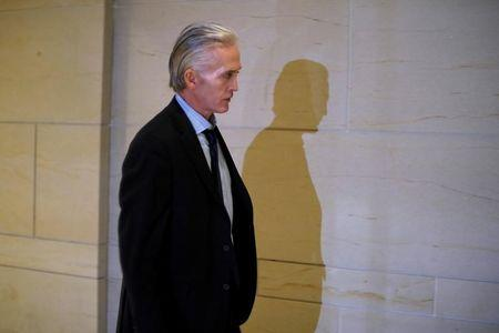 U.S. Rep. Trey Gowdy walks out of a closed meeting of the House Intelligence Committee as part of the panel's probe into Russia's tampering in the 2016 US presidential election in Washington