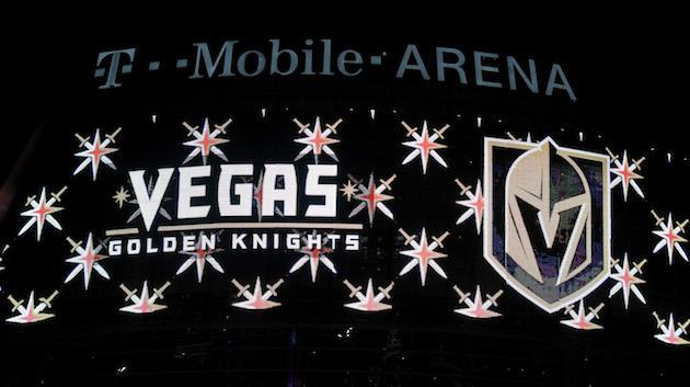 LAS VEGAS, NV – NOVEMBER 22: The team name and logo for the Vegas Golden Knights are displayed on T-Mobile Arena's video mesh wall after the Vegas Golden Knights was announced as the name for the Las Vegas NHL franchise at T-Mobile Arena on November 22, 2016 in Las Vegas, Nevada. The team will begin play in the 2017-18 season. (Photo by Ethan Miller/Getty Images)
