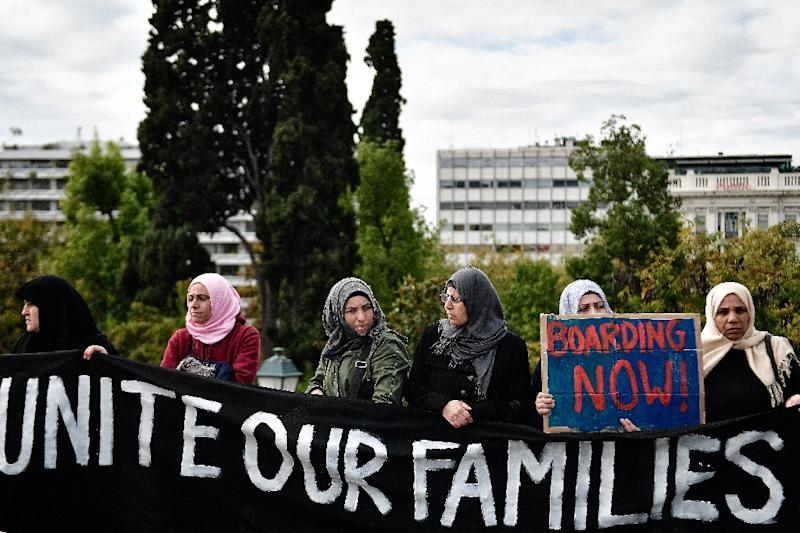 Refugee families granted asylum protest against delays in reuniting with their relatives, mainly in Germany