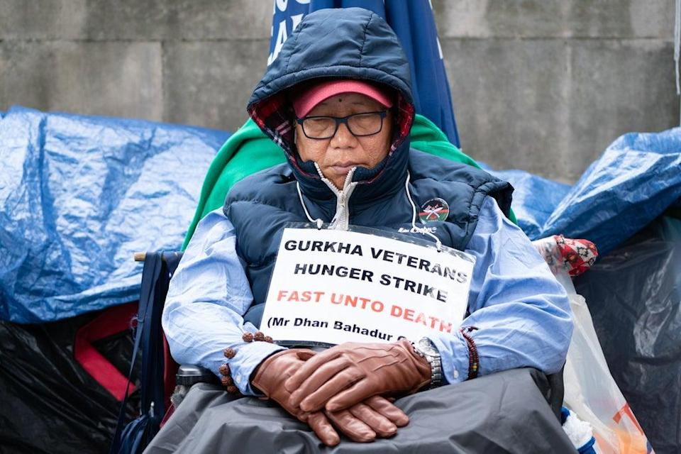 Gurkha veteran Dhan Gurung returned to the protest after being treated in hospital (Stefan Rousseau/PA) (PA Wire)
