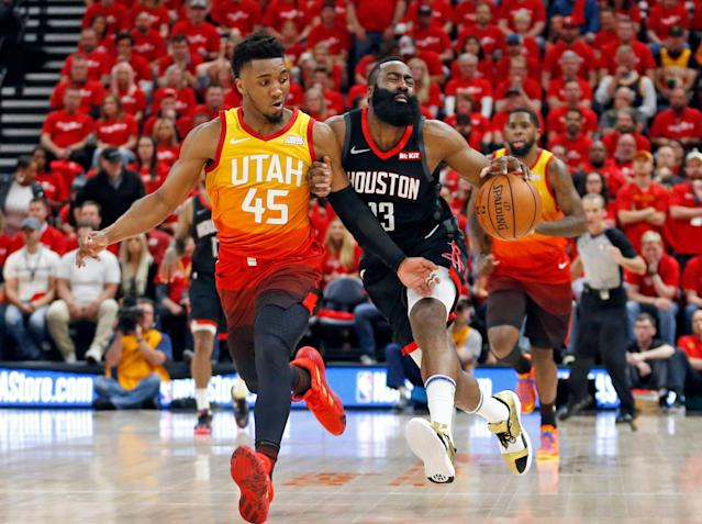 Despite a rough offensive game from James Harden, the Rockets escape Game 3 against the Jazz with a win. (AP/Rick Bowmer)