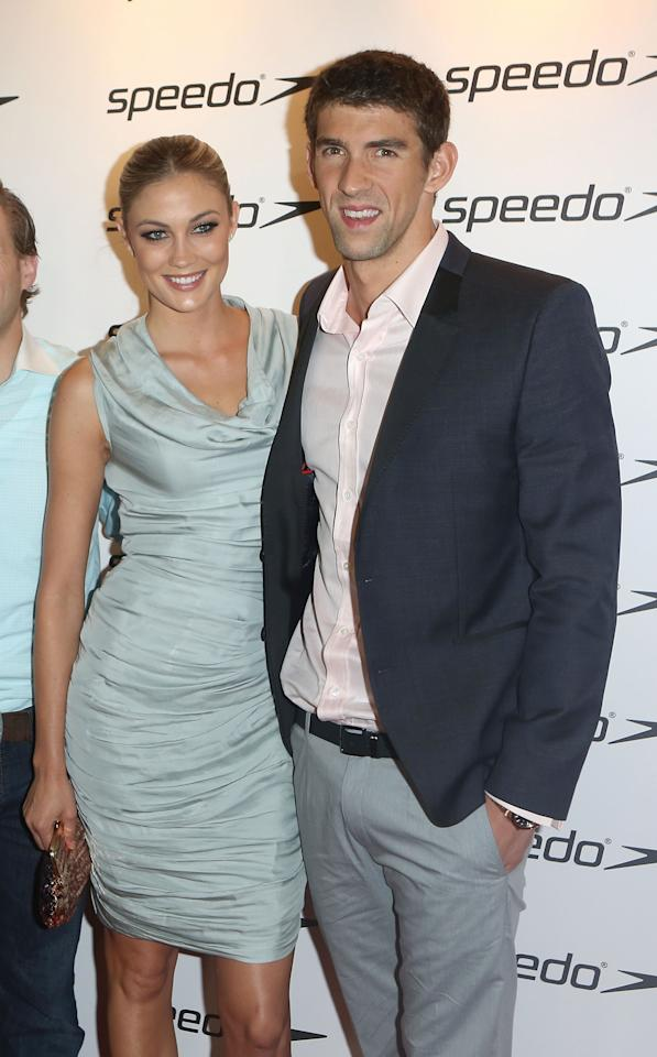Megan Rossee and Michael Phelps attend the Speedo Athlete Celebration at Kensington Roof Gardens on August 6, 2012 in London, England.  (Photo by Tim Whitby/Getty Images for Speedo)