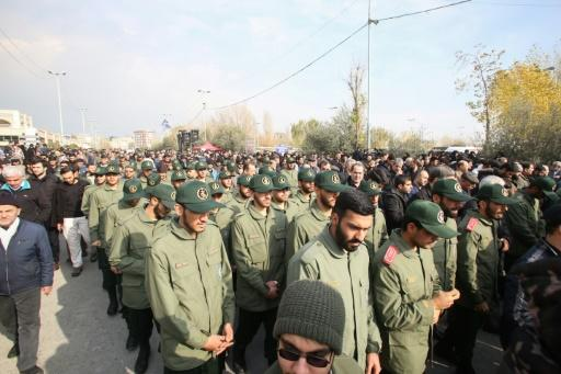 Members of Iran's Islamic Revolutionary Guard Corps (IRGC) take part in a demonstration in Tehran on January 3, 2020 following the killing of Iranian Revolutionary Guards Major General Qasem Soleimani in a US strike