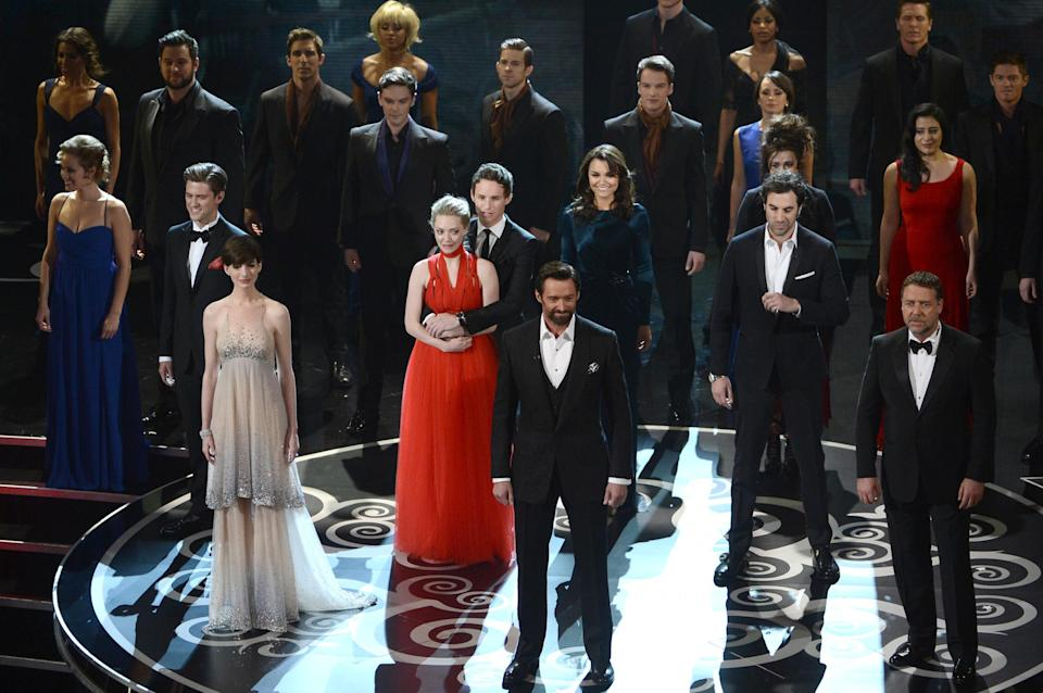 The cast of Les Miserables reunited on stage at the Oscars (Kevin Winter/Getty Images)