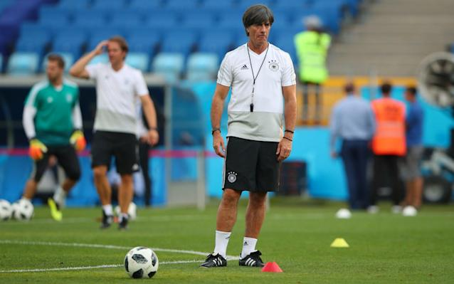"For a man peering into the eye of a storm, Joachim Low cut a remarkably serene figure. He was unflappable as he fielded an array of pressing questions with that familiar stony-faced glint but did not pass up an opportunity to lighten the mood when the opportunity arose. A little later, the Germany coach did not appear to have a care in the world as he indulged in a few tricks and flicks in the centre circle on the Fisht Stadium pitch while his players warmed up ahead of their final training session before tomorrow night's potentially pivotal game against Sweden. If only his team had exuded such calm and conviction in their opening match against Mexico last Sunday, a result more shocking for the manner of defeat than the actual loss itself, their position at this World Cup would not be so fragile. If Germany lose to Sweden here and Mexico avoid defeat in the earlier game against South Korea, the world champions will become the fourth holders in the past five tournaments to be eliminated at the group stage. In eight tournaments as either assistant coach or head coach of the Germans, Low has never exited before the semi-final stage, but the prospect of joining France (2002), Italy (2010) and Spain (2014) on that list of cursed champions looms large. ""Of course, as the title holder and as the Confederations Cup winner, the situation we face now is a different one,"" Low said. ""We're in a position where everyone is highly motivated and determined to win against us, so it's very difficult to maintain that motivation and hunger. That's why in almost 100 years there are not many who have been able to retain the World Cup. World Cup 2018 Simulator Single Game ""Italy in 2010 and Spain in 2014 were not able to dominate and repeat the feat. It's clearly not easy to achieve it. We have to show a reaction [to the Mexico defeat]. We have to deliver. If we win, we're back in the race and we'll see how the tournament progresses after that. But talking about that now makes no sense at all. We cannot look beyond this game."" The fallout from the Mexico debacle has been brutal. Striker Mario Gomez likened the reaction back home to ""an avalanche"" and even Low admitted there was ""a lot to digest"" in the 48 hours that followed, although the fiercest criticism probably came from within the camp itself. A crisis meeting was held on Tuesday when frank words were exchanged between the players, Low and his staff and, publicly, there has been no attempt to mask their failings. Low is not prone to knee-jerk reactions but the poverty of his team's display against Mexico, when they overcommitted in attack and left gaping holes for their opponents to exploit on the transition, clearly shocked him and he could make four or five changes against Sweden. One has been enforced. Mats Hummels damaged a vertebrae in his neck in training and is expected to be replaced by his Bayern Munich team-mate, Niklas Sule. Jonas Hector could come in for Marvin Plattenhardt at left-back, Marco Reus is likely to replace Julian Draxler on the left flank and Ilkay Gundogan may deputise for Sami Khedira. Timo Werner could retain Low's trust up front, despite Gomez knocking on the door. Mesut Ozil was the target for the most sustained criticism but the Arsenal playmaker received a show of confidence from Low, who, for all his dismay at what he witnessed in Moscow, reminded Germany's critics that the players were too experienced to allow one poor result to rock their confidence. ""We're all subject to criticism in terms of performance but this deep trust in players who have been playing three or four years at a top level will not be shaken by a single match,"" he said. ""They've won titles, so why should that change on the basis of one match? It's not just Mesut Ozil, all the players received their fair share of criticism. But as far as Mesut Ozil is concerned, everyone knows I hold him in high esteem. World Cup 2018 