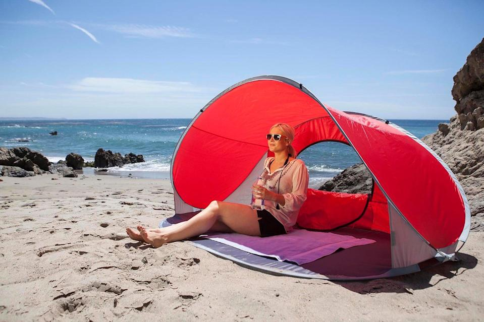 "<h3>Pop-Up Sun Shelter</h3> <br>Whether you're driving two hours to the beach or simply lounging at the public park a few blocks from your apartment, an extended stay in the sun requires copious amounts of shade. We browsed a lot of tents before settling on this one, based on its pleasing design and ease of setup and breakdown — it comes in a neat circular bag and pops open in one movement.<br><br><strong>Picnic Time</strong> Manta Sun Shelter, $, available at <a href=""https://go.skimresources.com/?id=30283X879131&url=https%3A%2F%2Fwww.bedbathandbeyond.com%2Fstore%2Fproduct%2Fpicnic-time-reg-manta-sun-shelter%2F3273079"" rel=""nofollow noopener"" target=""_blank"" data-ylk=""slk:Bed Bath and Beyond"" class=""link rapid-noclick-resp"">Bed Bath and Beyond</a><br>"