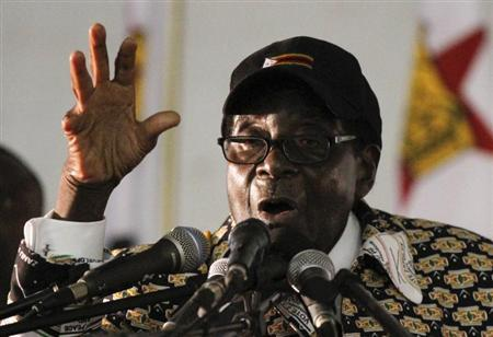 Zimbabwe President Robert Mugabe speaks at the opening of the ZANU-PF annual People's Conference in Chinhoyi
