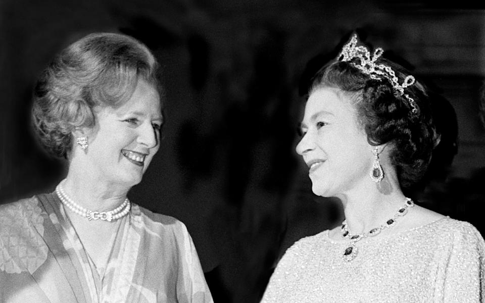 Before the storm: Mrs Thatcher and Her Majesty in October 1979, at a ball to celebrate the Commonwealth Heads of Government - Hulton Archive