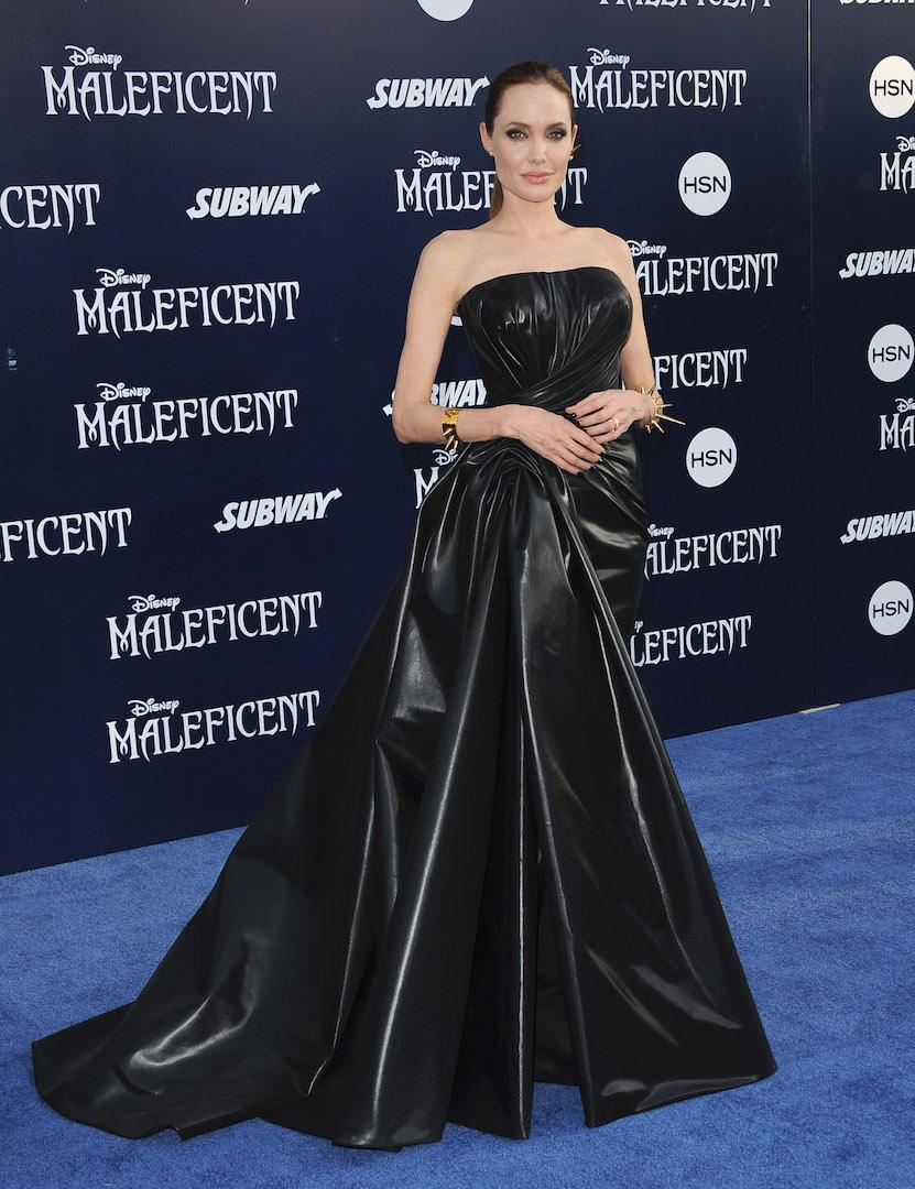For the world premiere of 'Maleficant', the Hollywood heavyweight channelled her Disney alter-ego in a bespoke Versace leather gown. A pair of horn-emblazoned shoes completed the tribute. <em>[Photo: Getty]</em>
