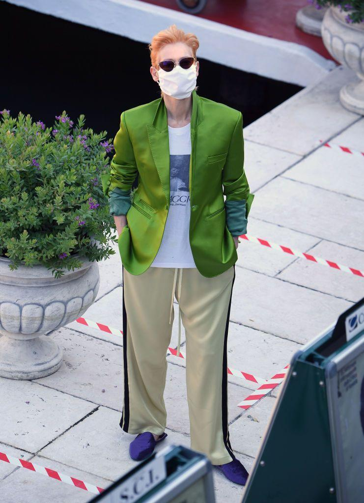 <p>Another A-Lister in a mask at Venice was Swinton.</p>