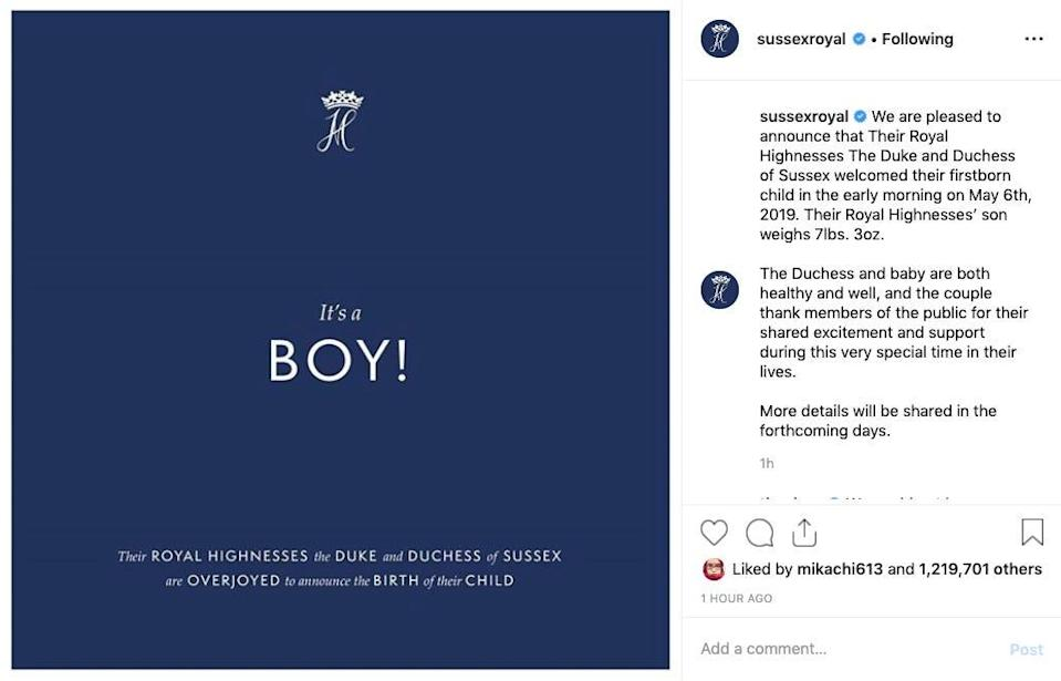 royal baby instagram announcement