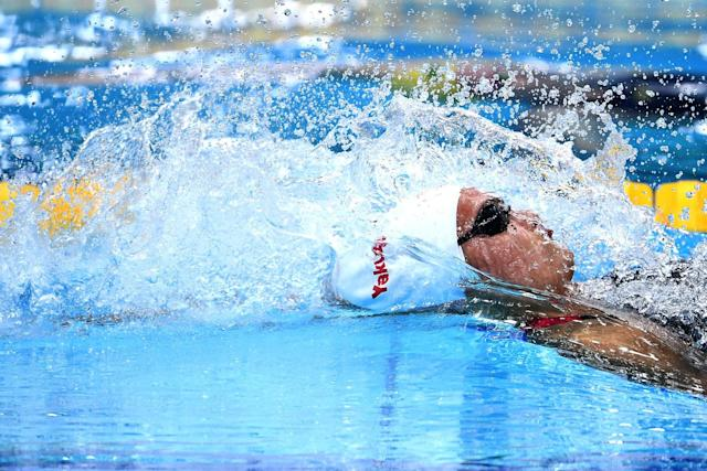 <p>Kylie Masse had a summer to remember, setting a new world record in the 100-metre backstroke. (Photo by Laurence Griffiths/Getty Images) </p>