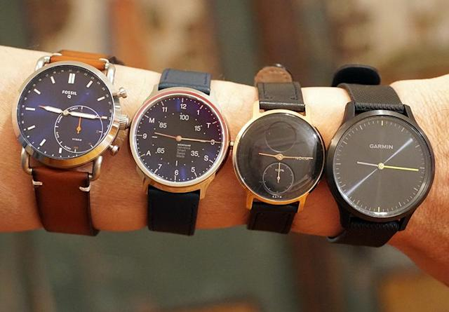 From left: Fossil Q Commuter, Mondaine Helvetica 1 Smart Watch, Nokia Steel HR, and Garmin Vivomove HR.