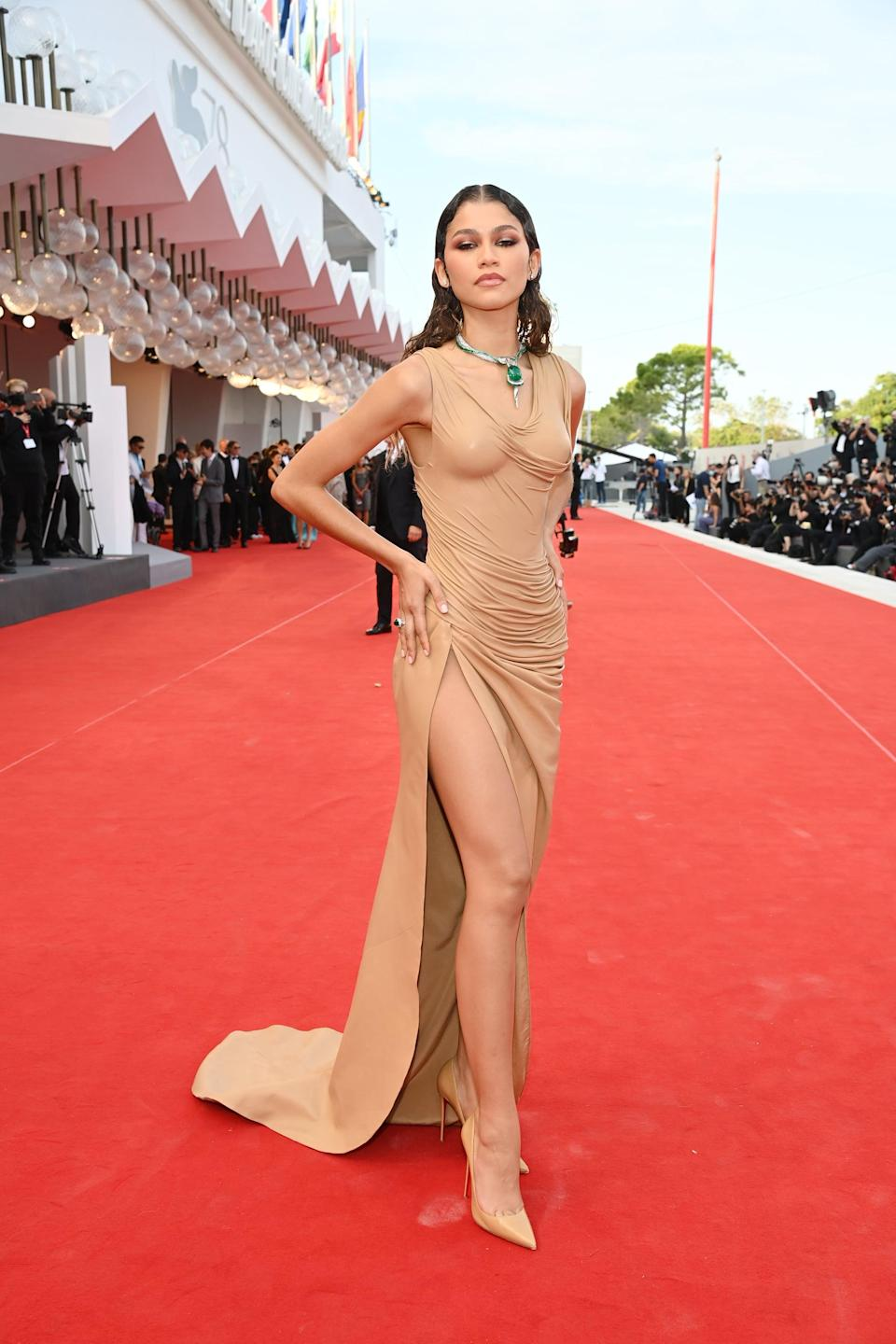 """<p>I always brace for <a class=""""link rapid-noclick-resp"""" href=""""https://www.popsugar.com/Zendaya"""" rel=""""nofollow noopener"""" target=""""_blank"""" data-ylk=""""slk:Zendaya"""">Zendaya</a>'s head-turning look at whatever fancy event she attends. This wet-looking Balmain leather gown stole the show at the Venice Film Festival, and I wasn't expecting anything less from the actress.</p>"""